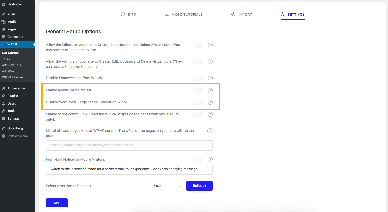 WPVR Settings Page