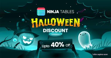 Ninja Tables Halloween Discount Banner
