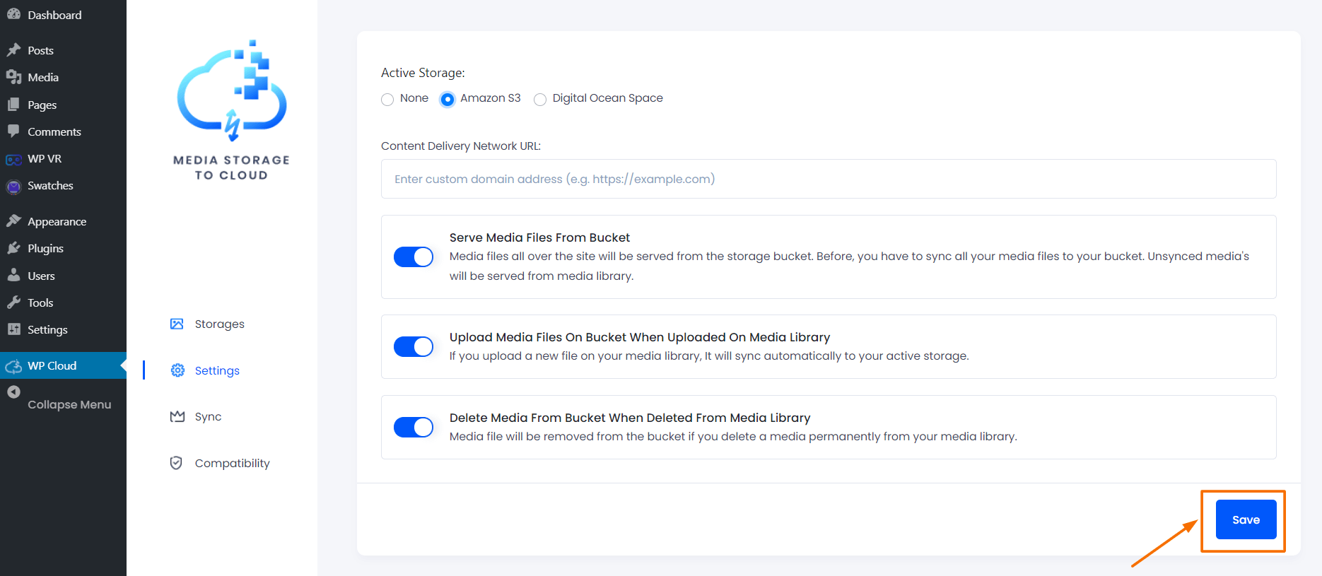 Media Storage to Cloud Settings Page