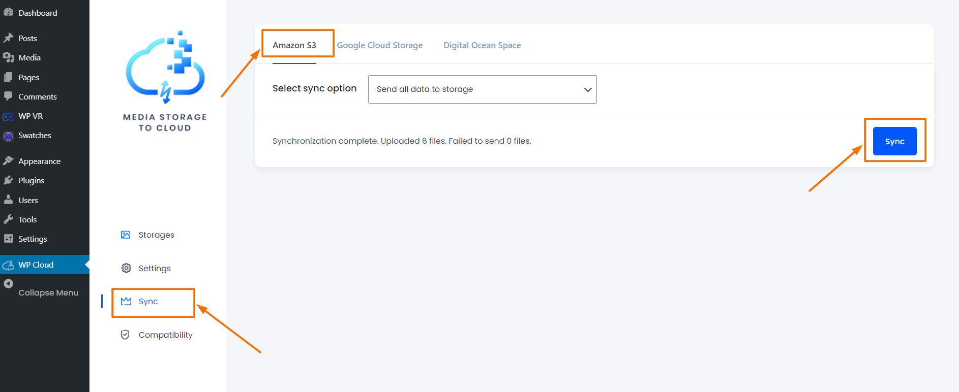 Media Storage to Cloud Syncing Page