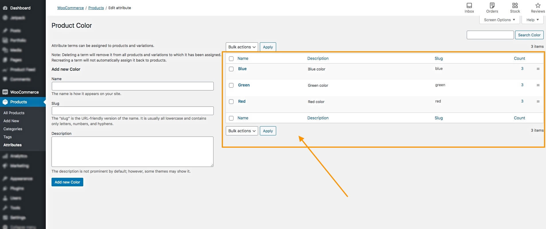 Editing Terms of An WooCommerce Attribute