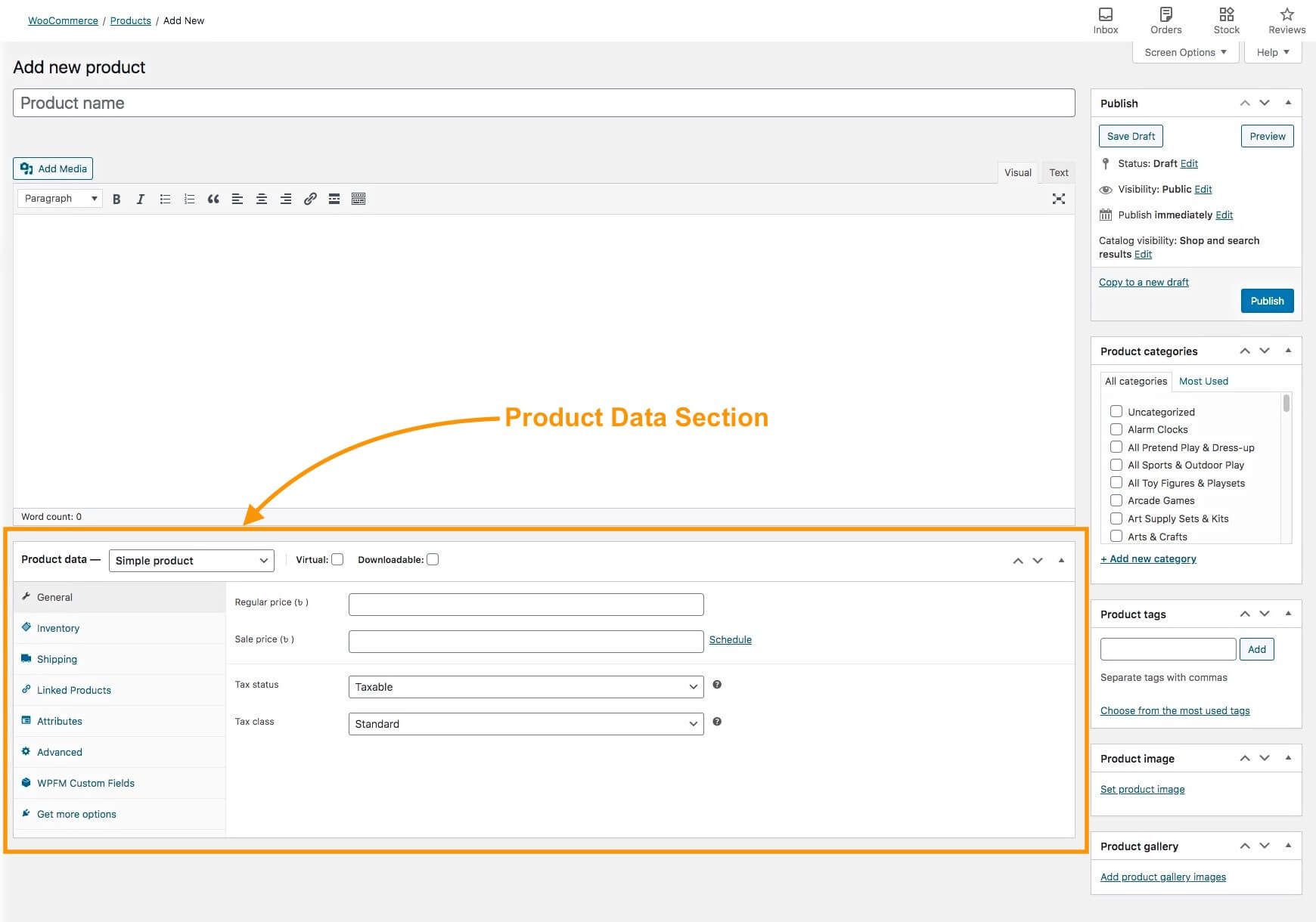 Product data section