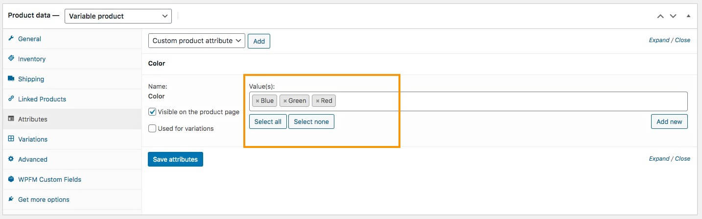 Product attributes added