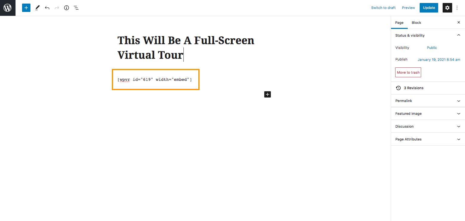 Embed Full Screen Virtual Tour