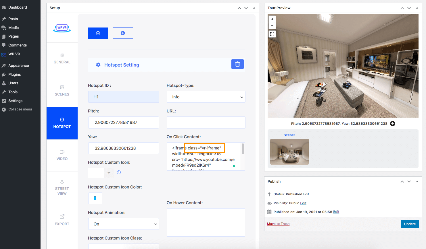 WPVR Class for Embedding Video