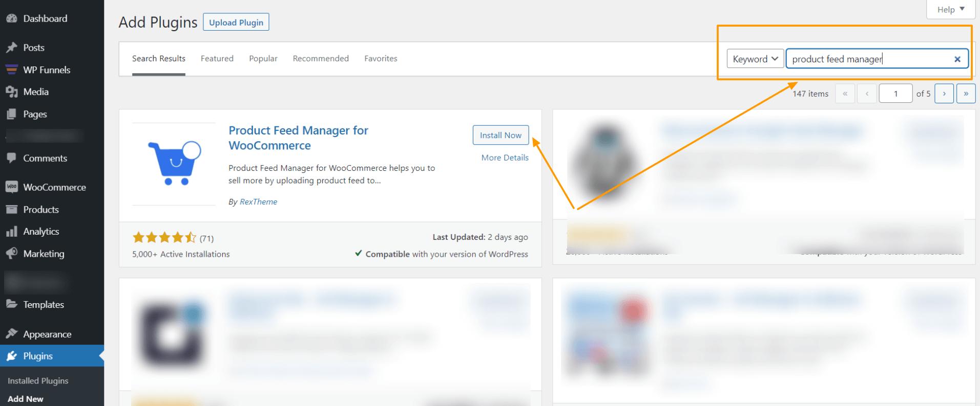 WordPress Dashboard - Search For Plugin