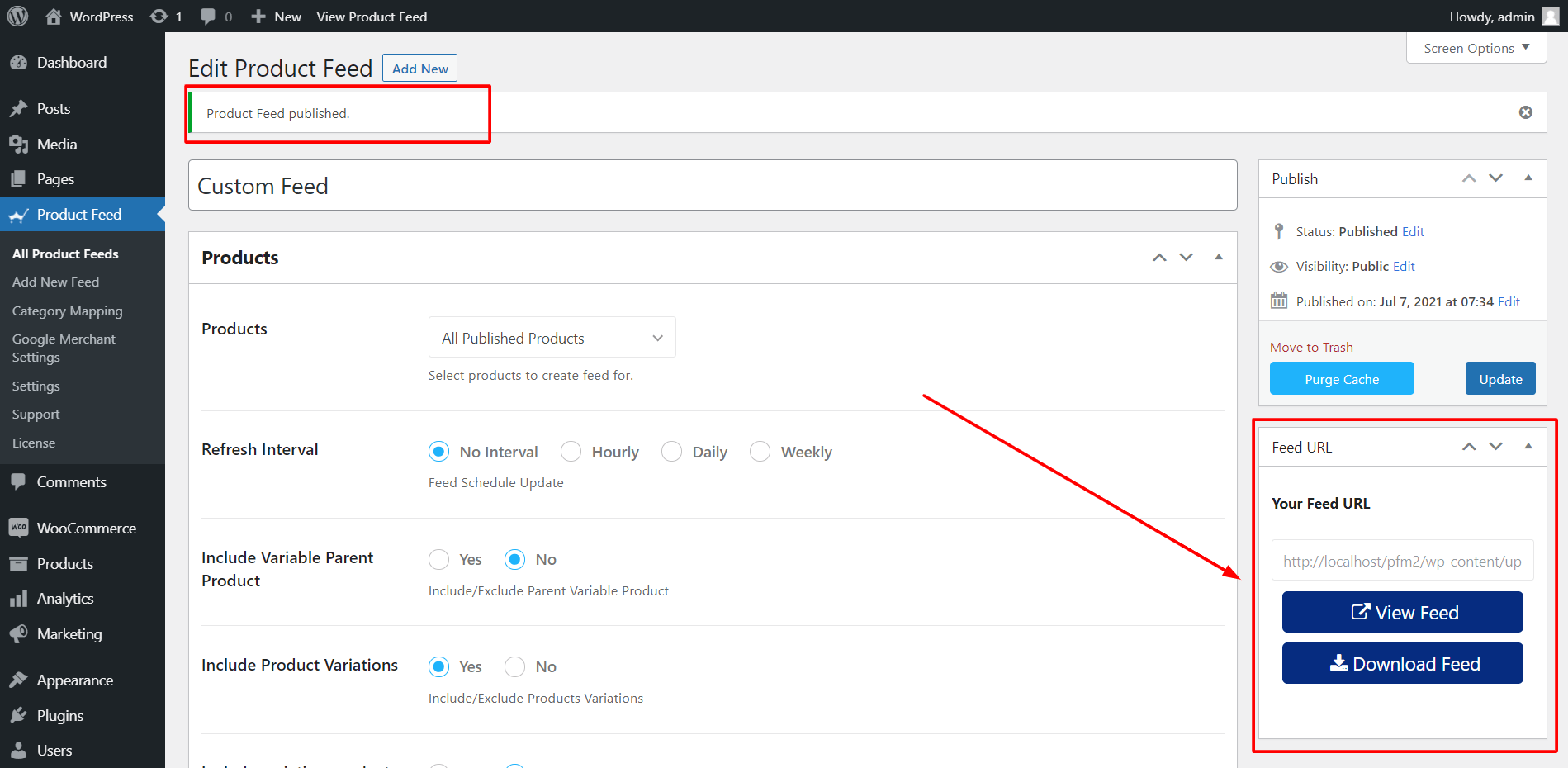 Product Feed Manager View/ Download Feed Options