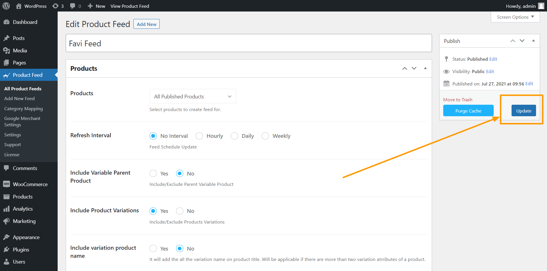 Product Feed Manager Update Feed
