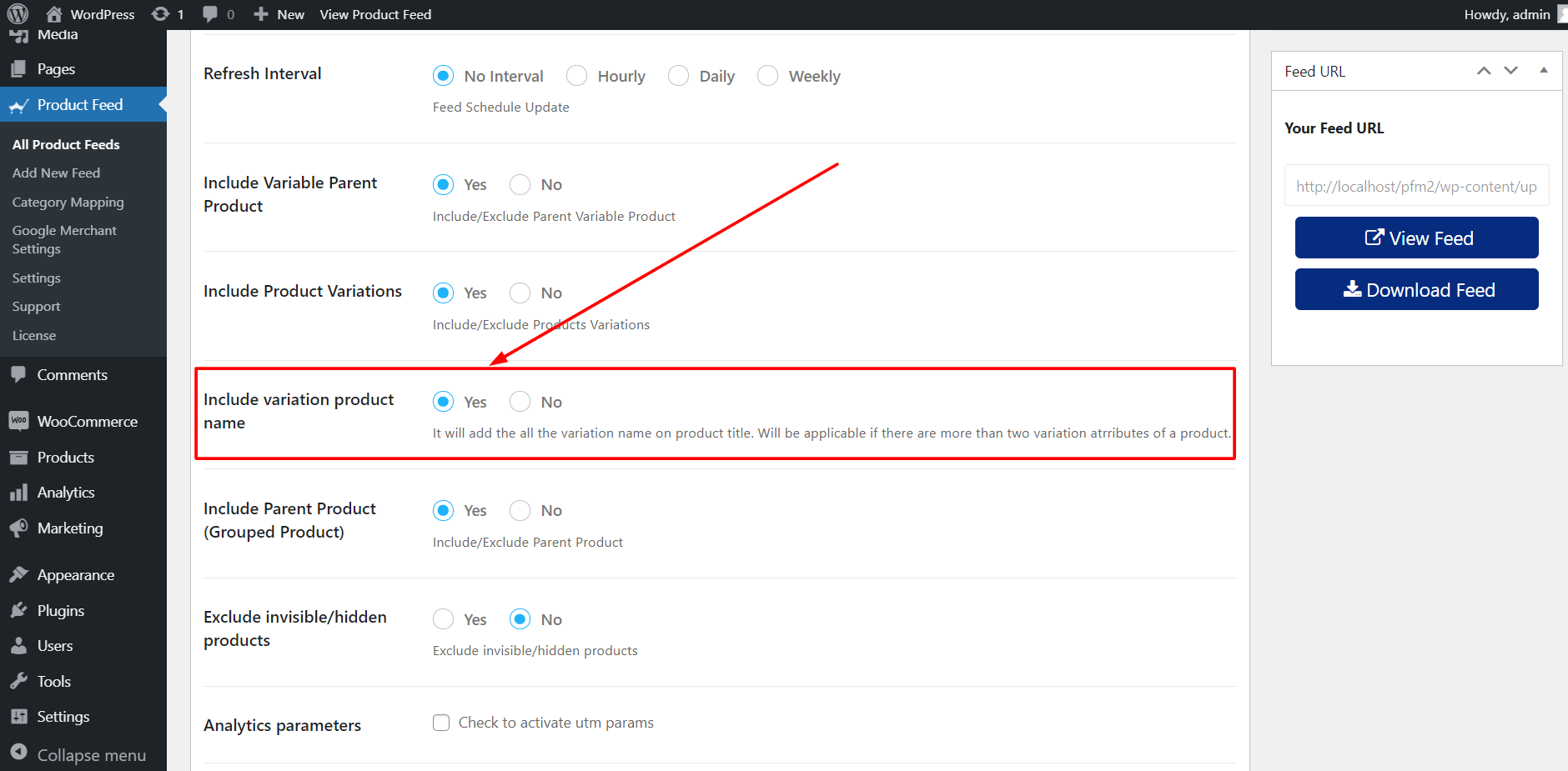 Product Feed Manager Include Variation Product Name Option