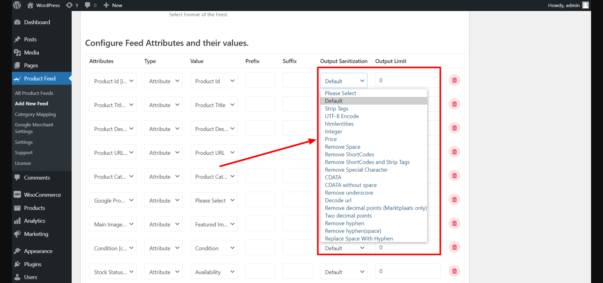 Product Feed Manager Output Sanitization Dropdown List