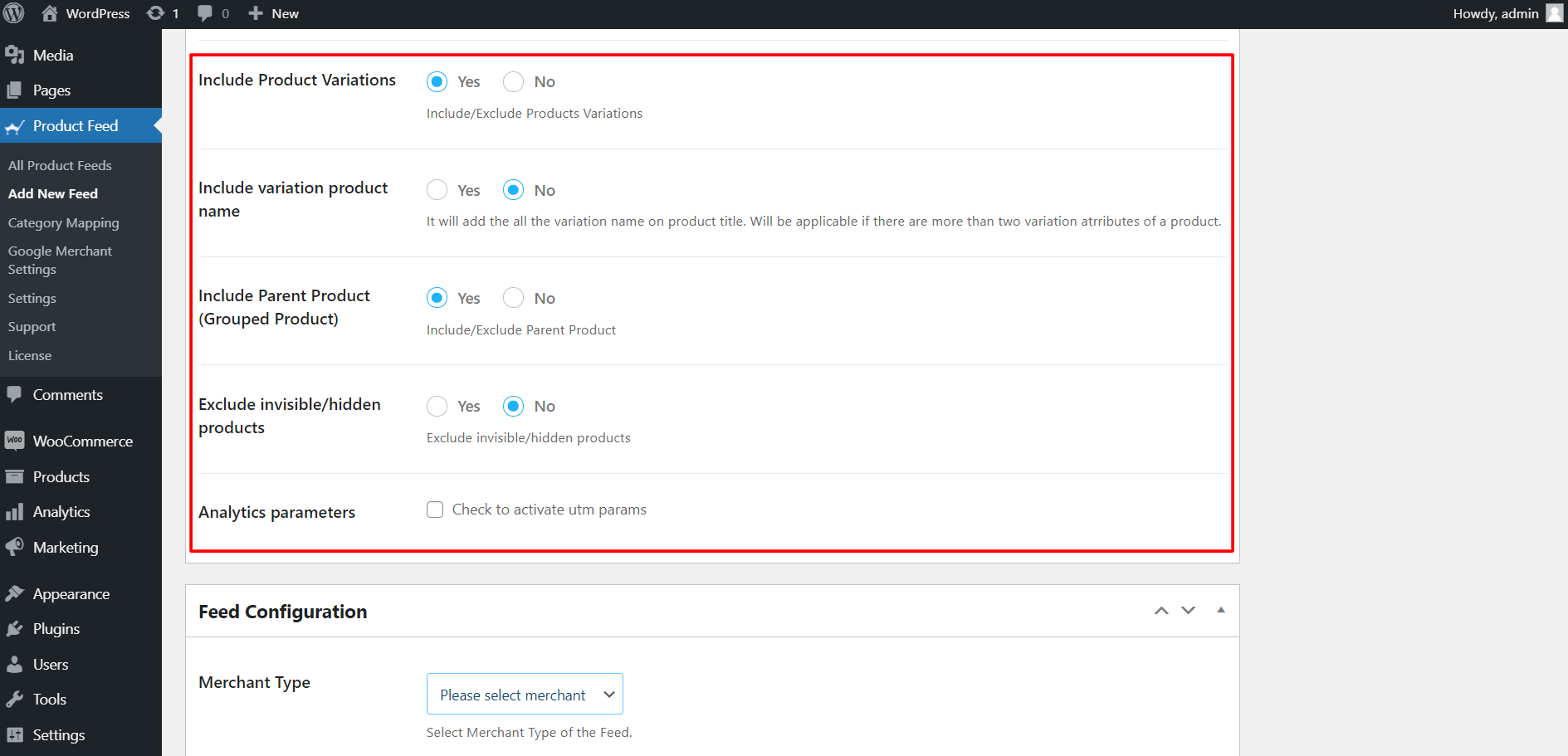 Product Feed Manager Feed Settings