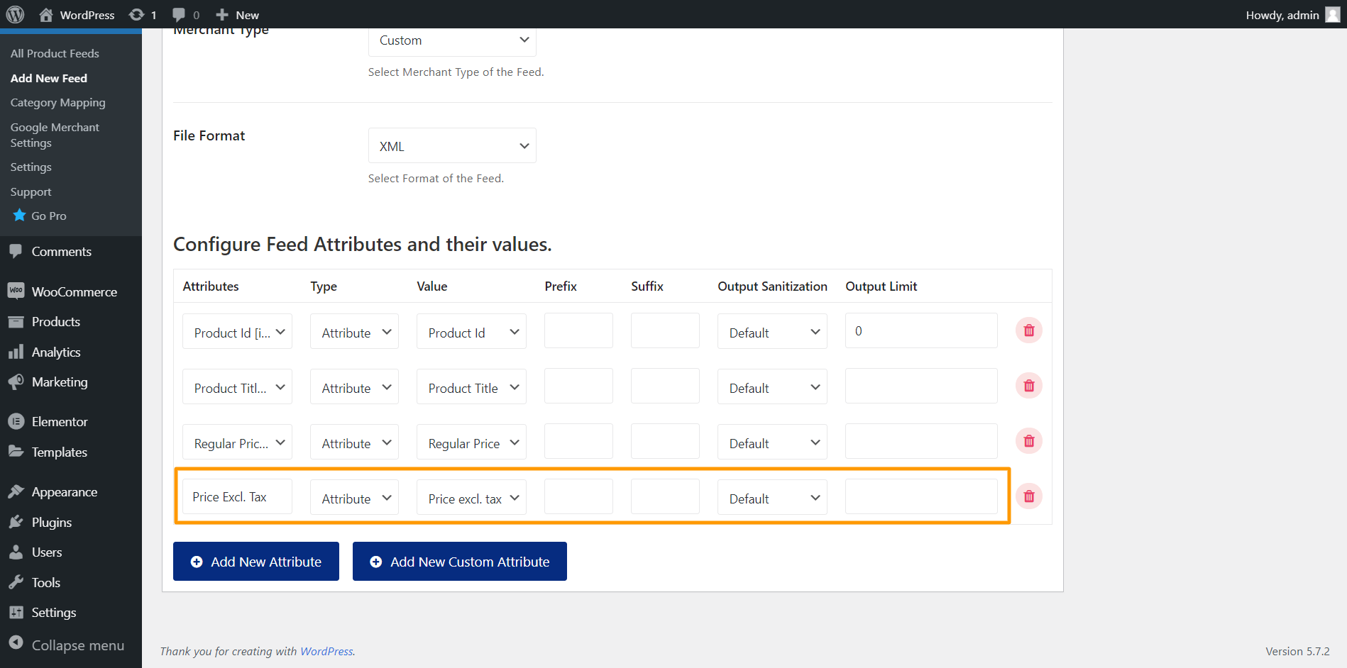 Product Feed Manager Custom Attribute