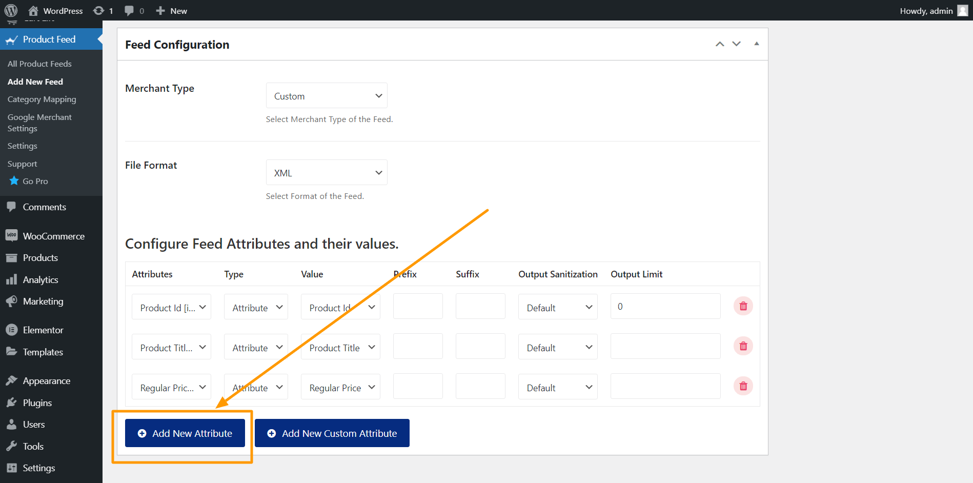 Product Feed Manager Add New Attribute