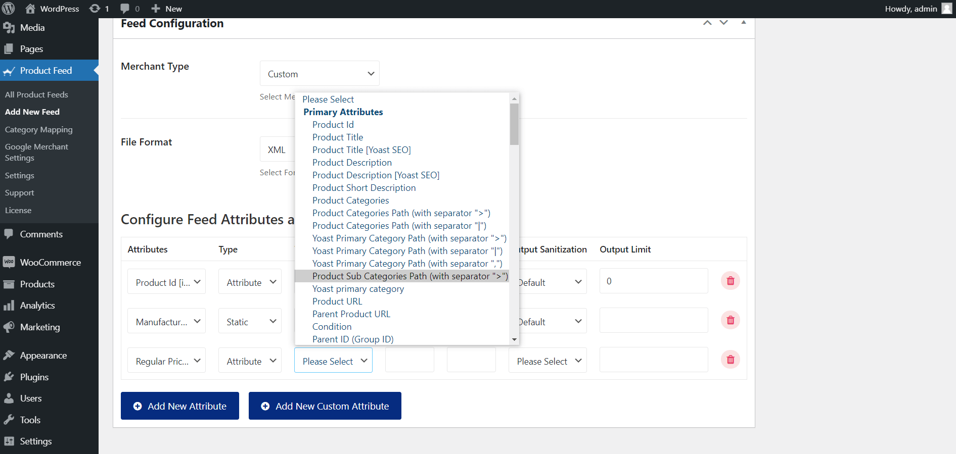 Product Feed Manager Set Attribute Values