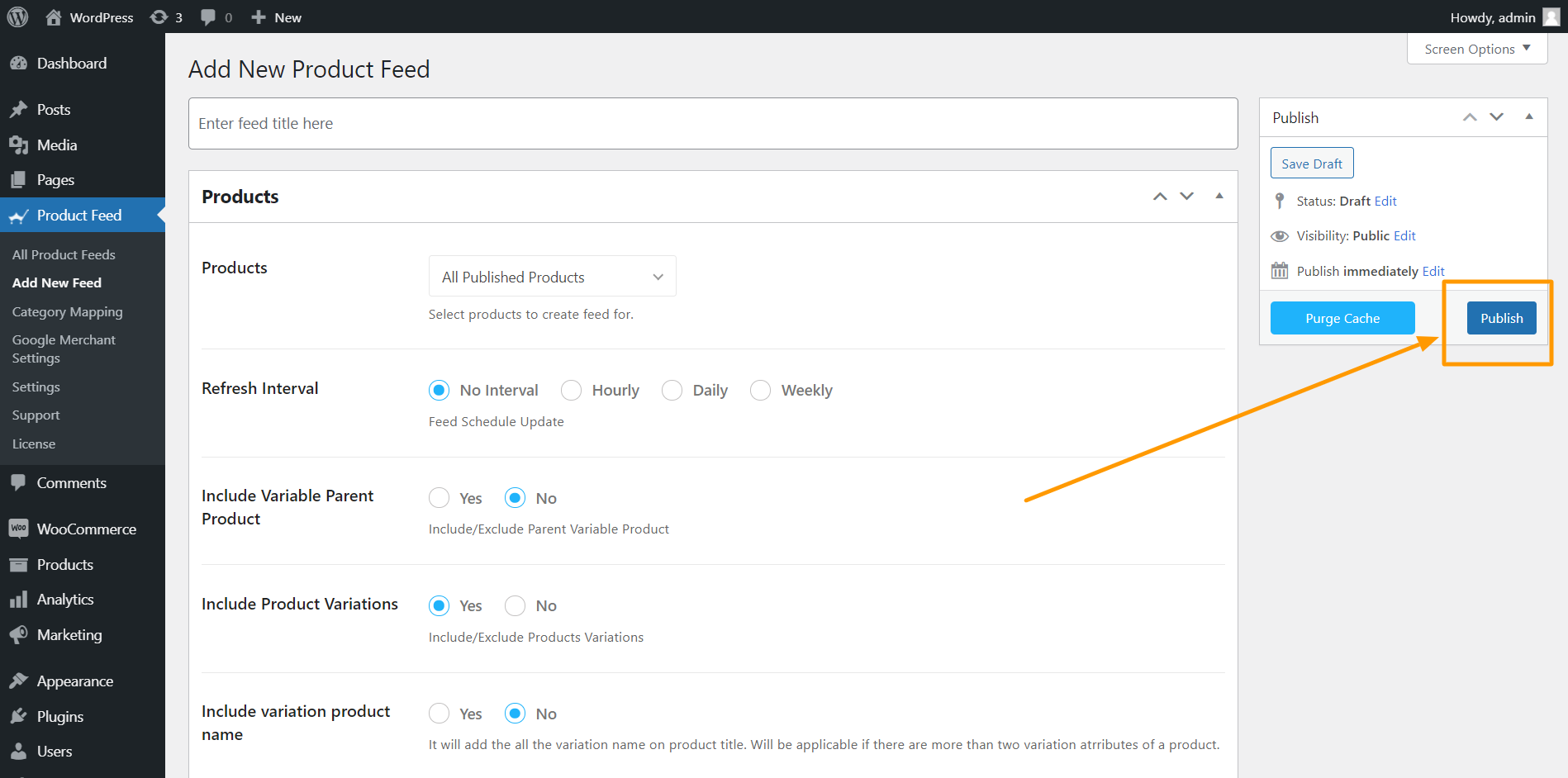 Product Feed Manager Publish Feed