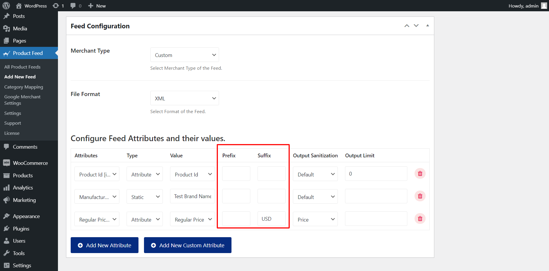 Product Feed Manager Prefix And Suffix Options