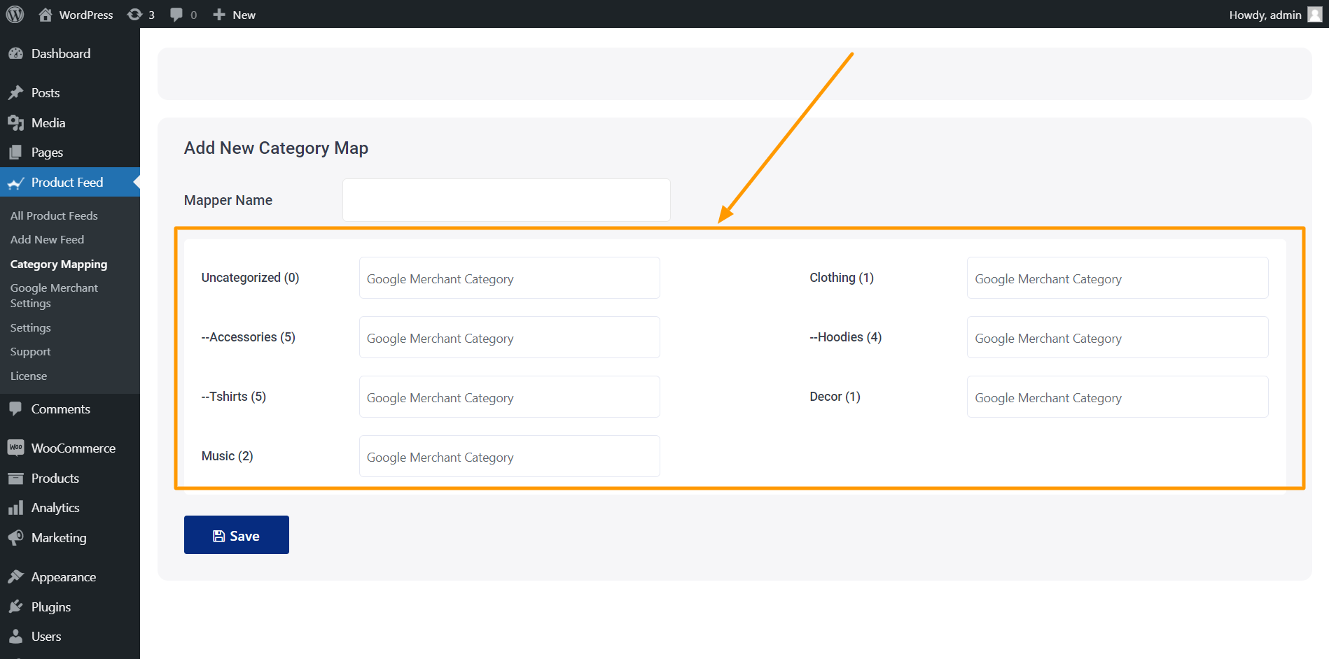 Product Feed Manager Category Mapping - Category List