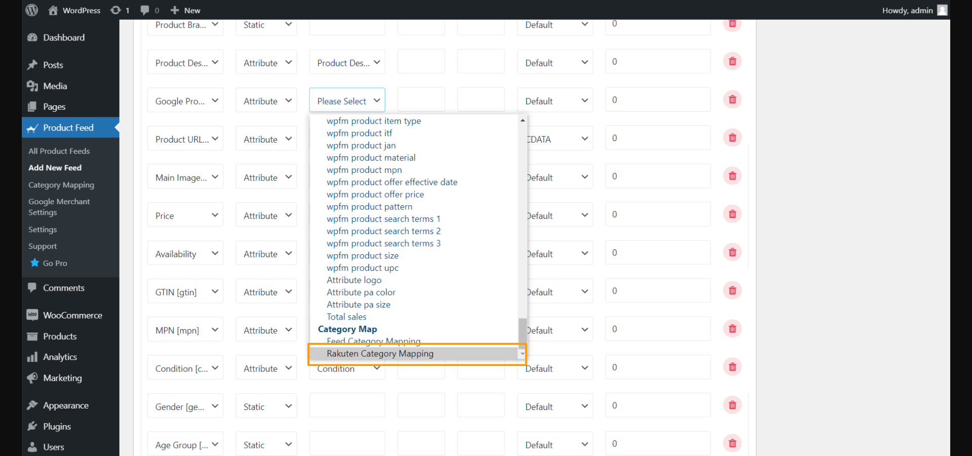 Product Feed Manager - Rakuten Merchant Category Mapping