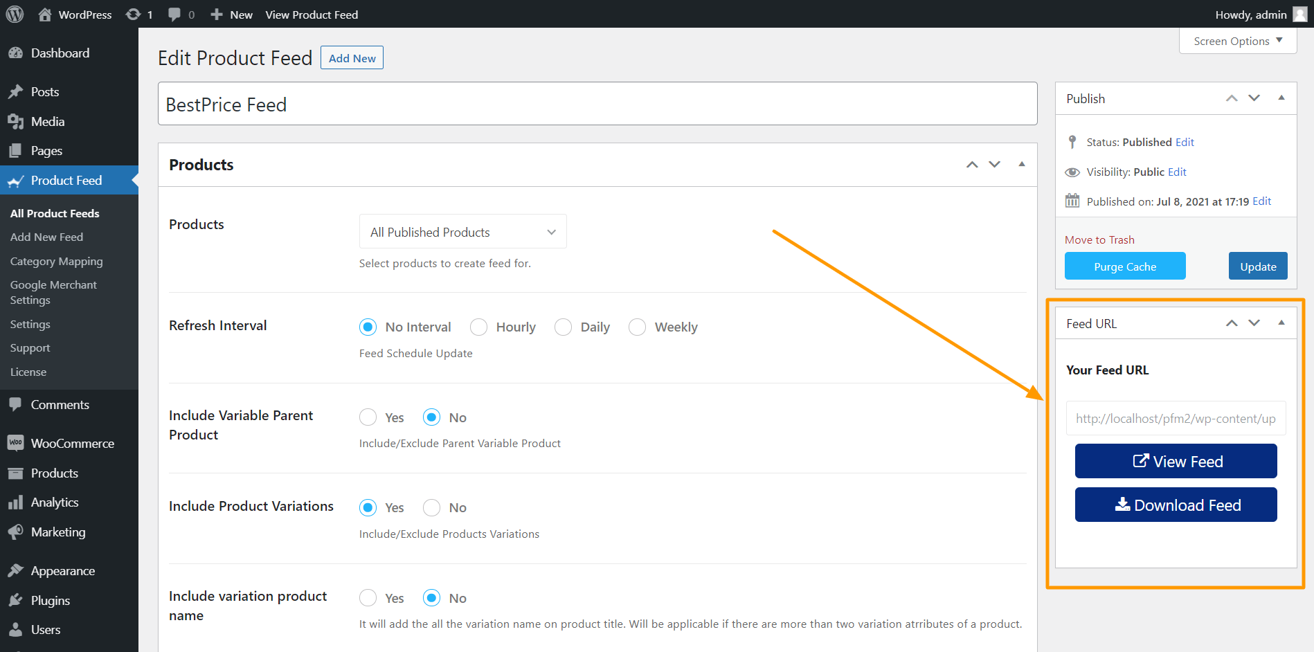 Product Feed Manager View/ Download Feed