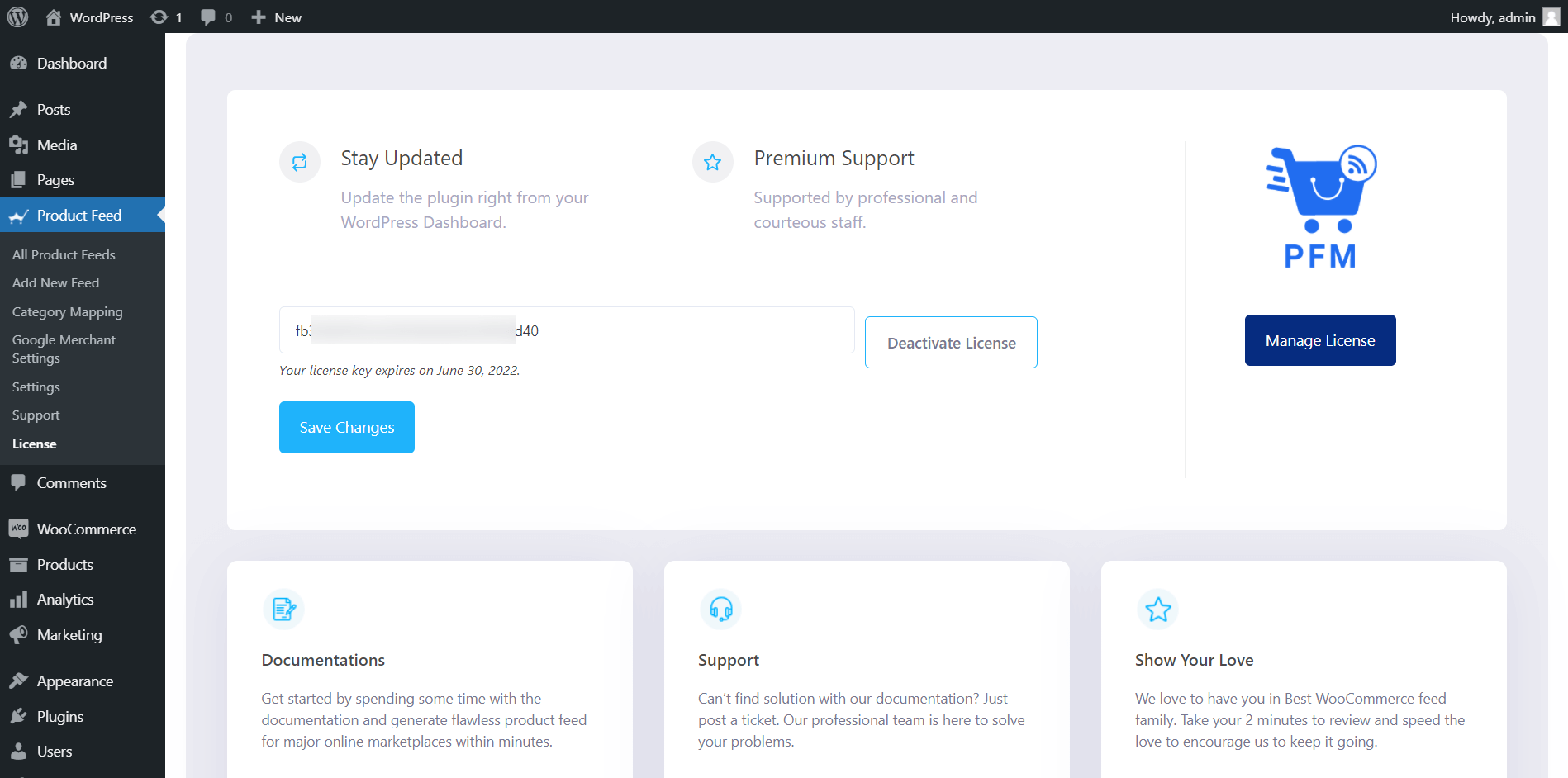 Product Feed Manager Deactivate License