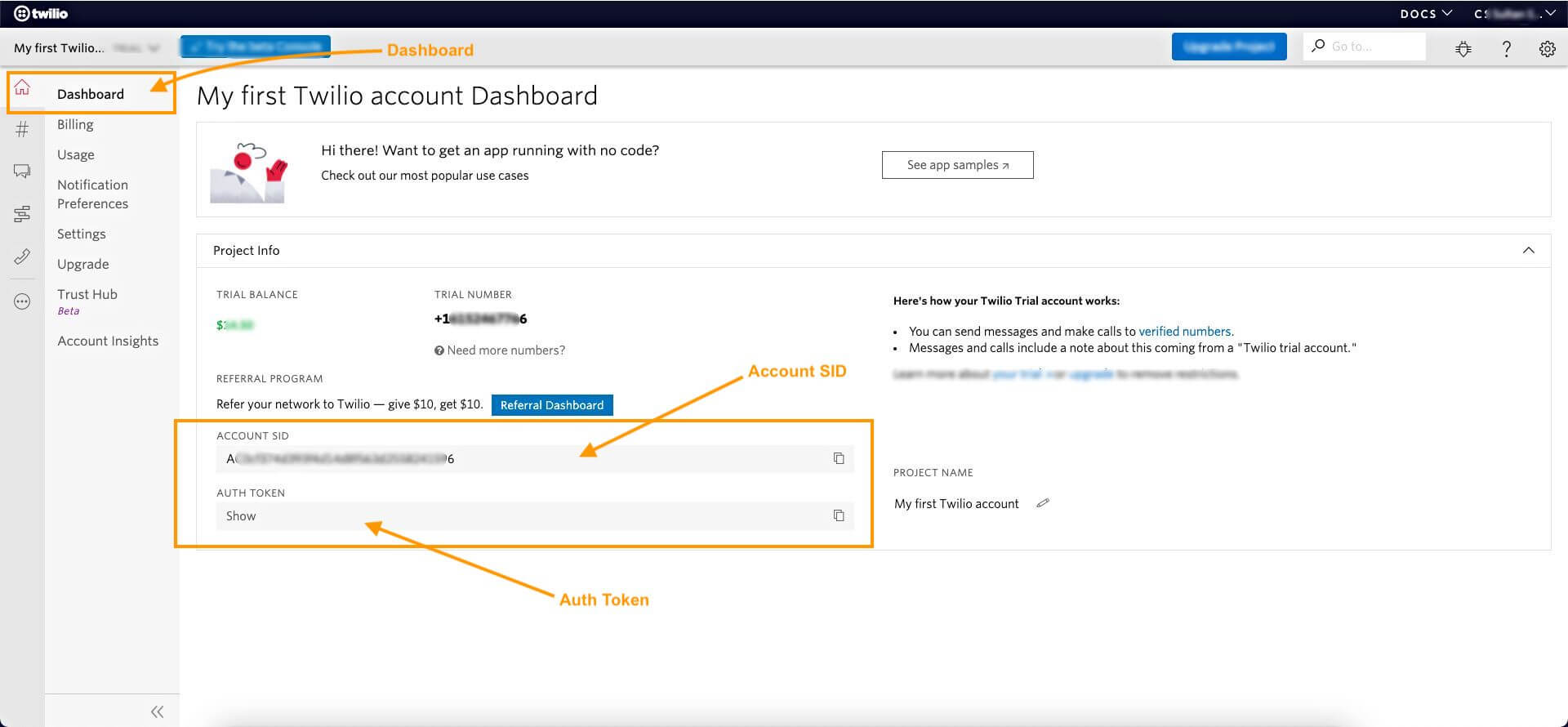 Twilio - Dashboard - Account SID & Auth Token