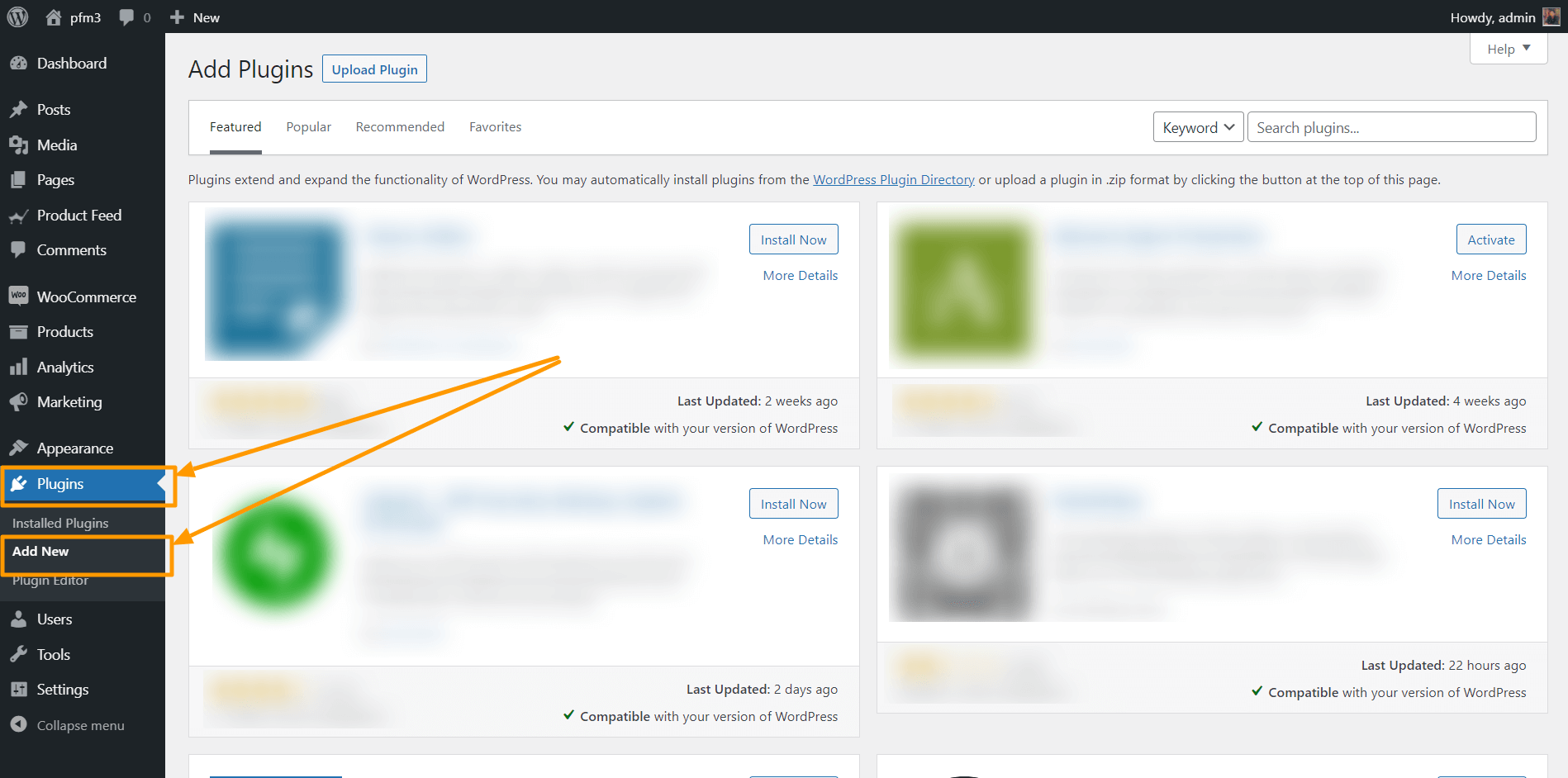 WordPress Add New Plugin Option