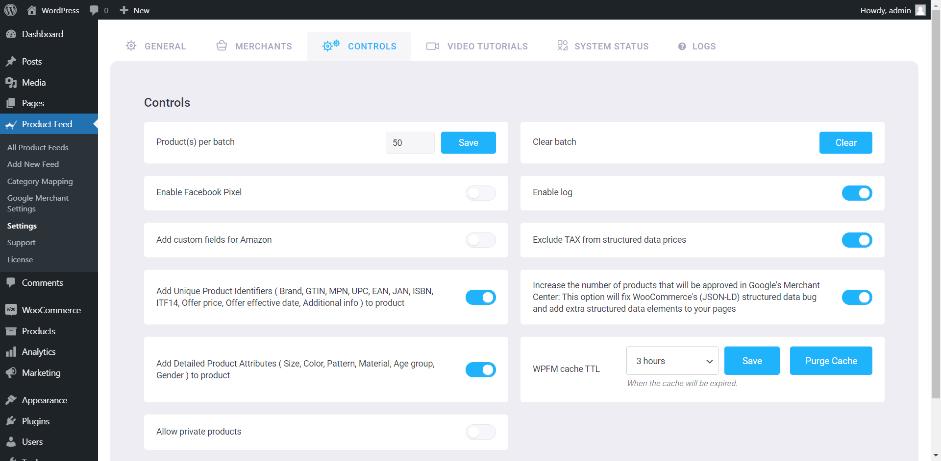 Product Feed Manager Controls Tab