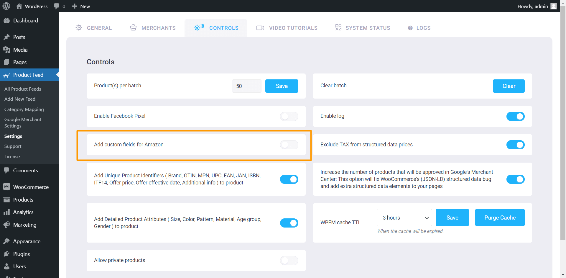 Product Feed Manager Controls - Add Custom Fields For Amazon