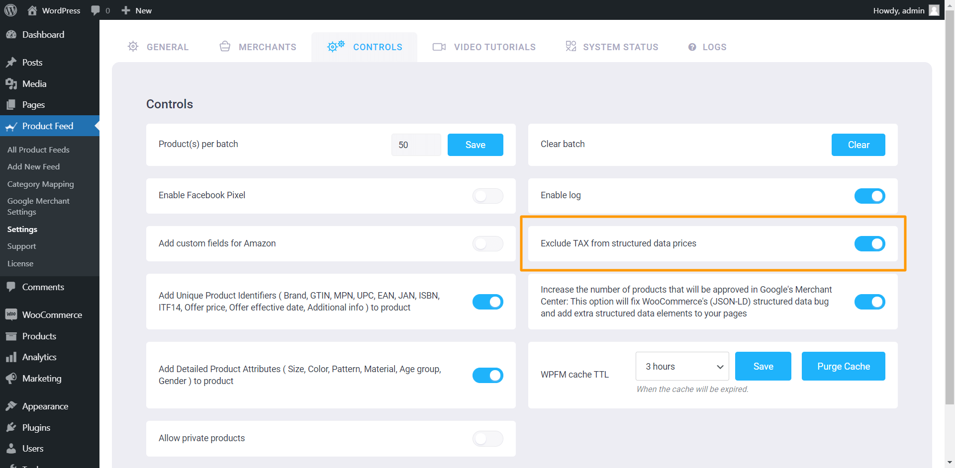 Product Feed Manager Controls - Exclude TAX From Structured Data Prices