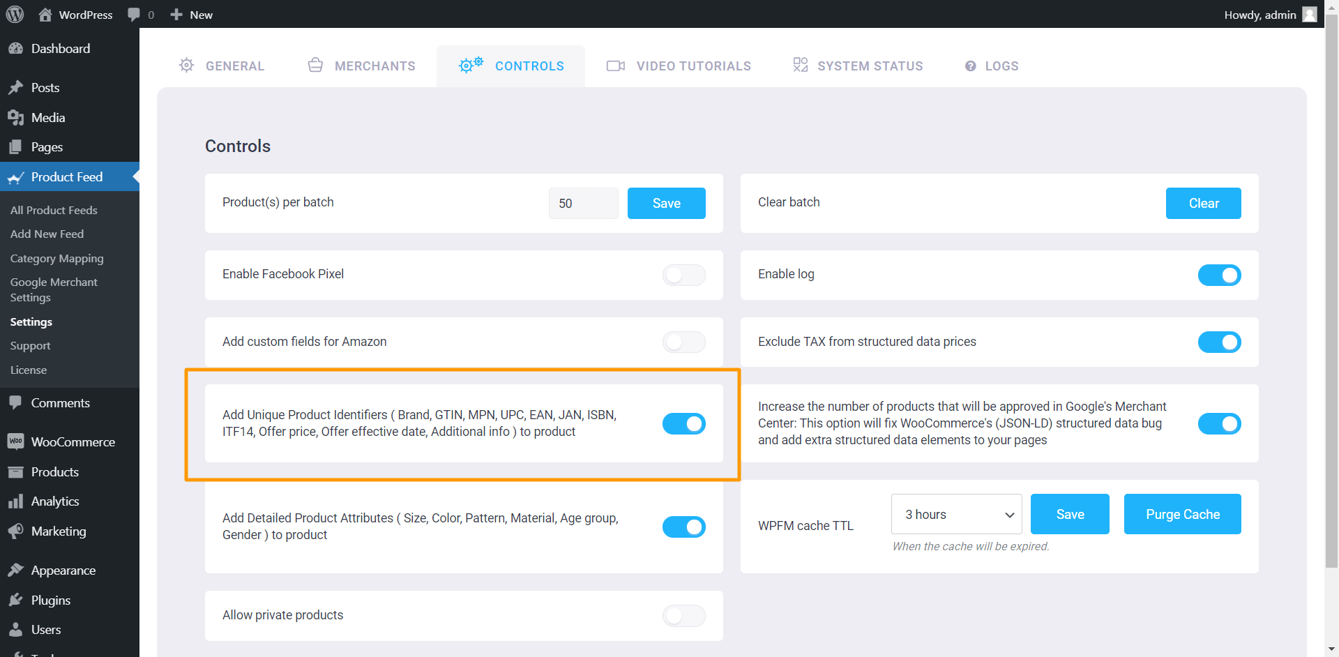 Product Feed Manager Controls - Add Unique Product Identifiers