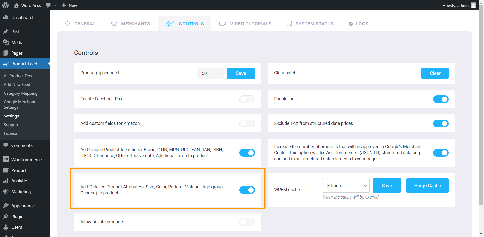 Product Feed Manager Controls - Add Detailed Product Attributes