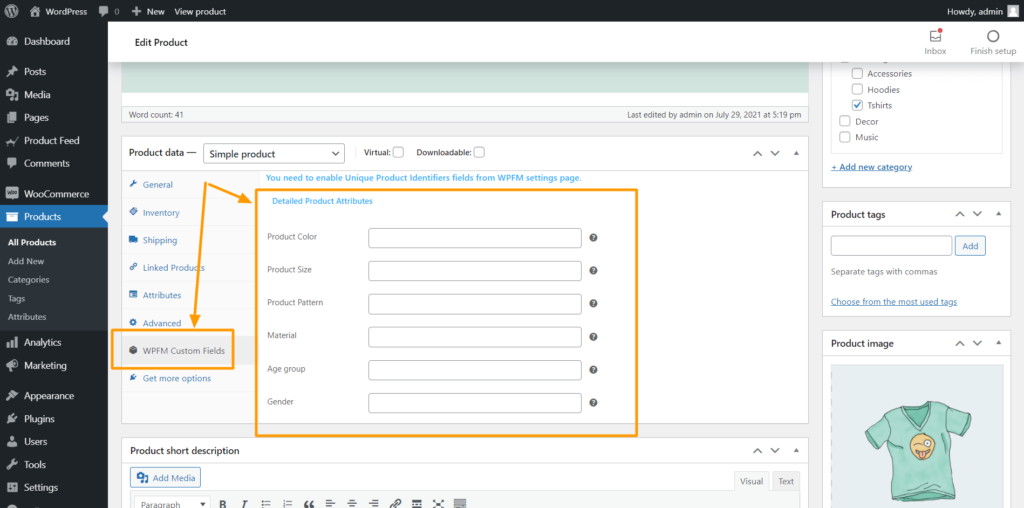 Product Feed Manager Controls - Detailed Product Attributes
