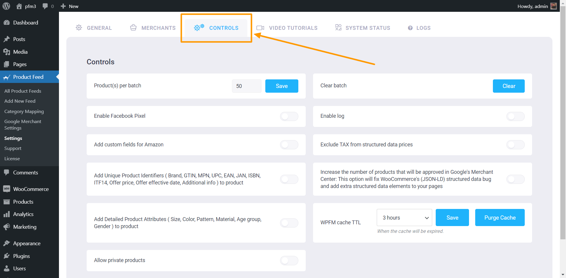 Product Feed Manager Controls Page