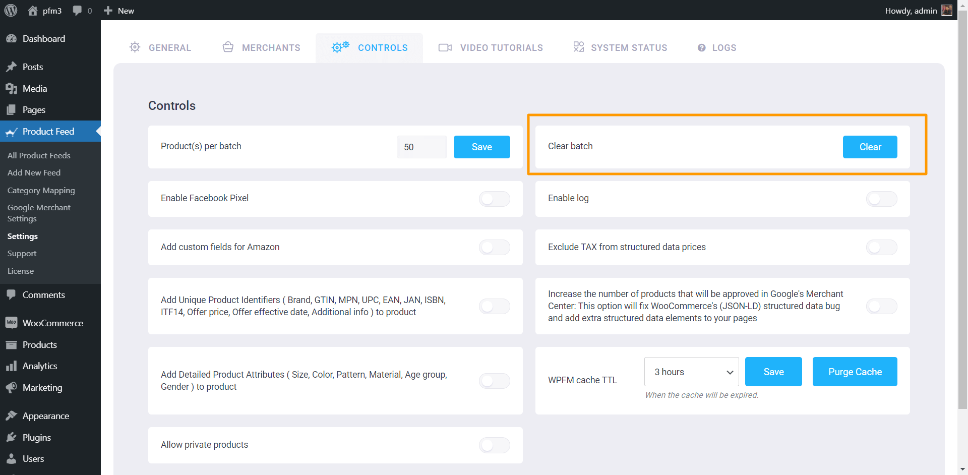 Product Feed Manager Clear Batch