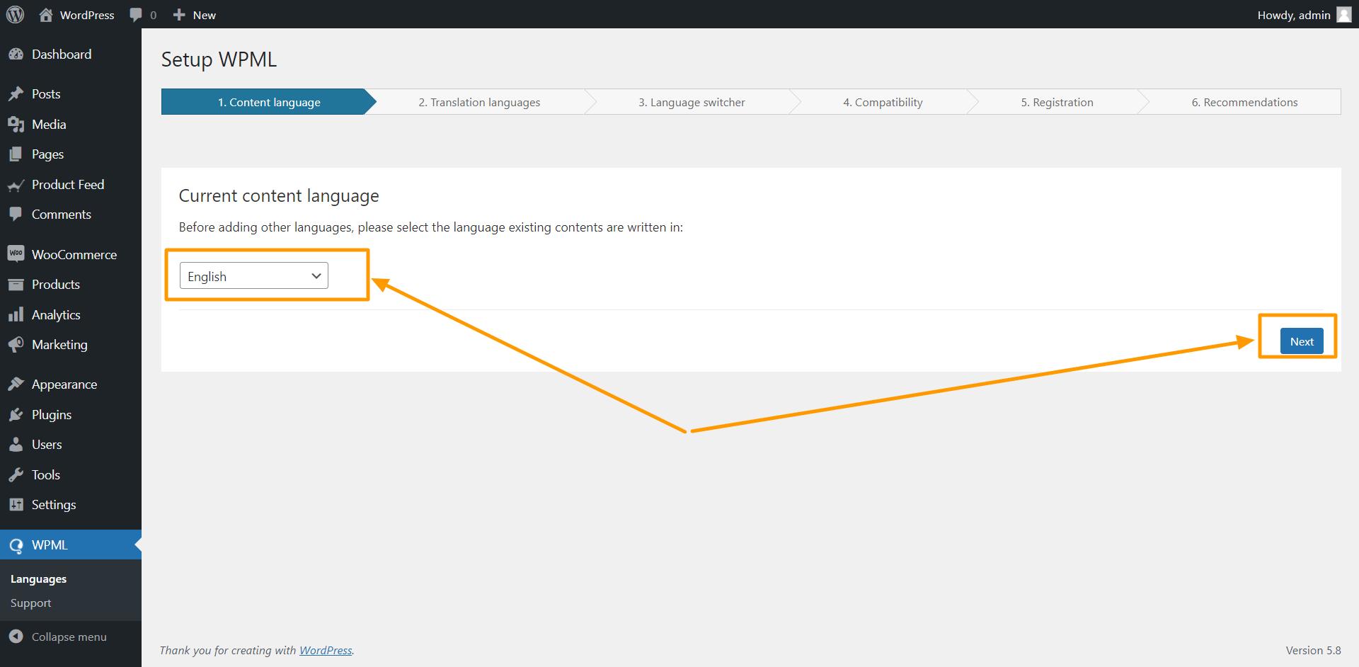 WPM Configure Current Language Page