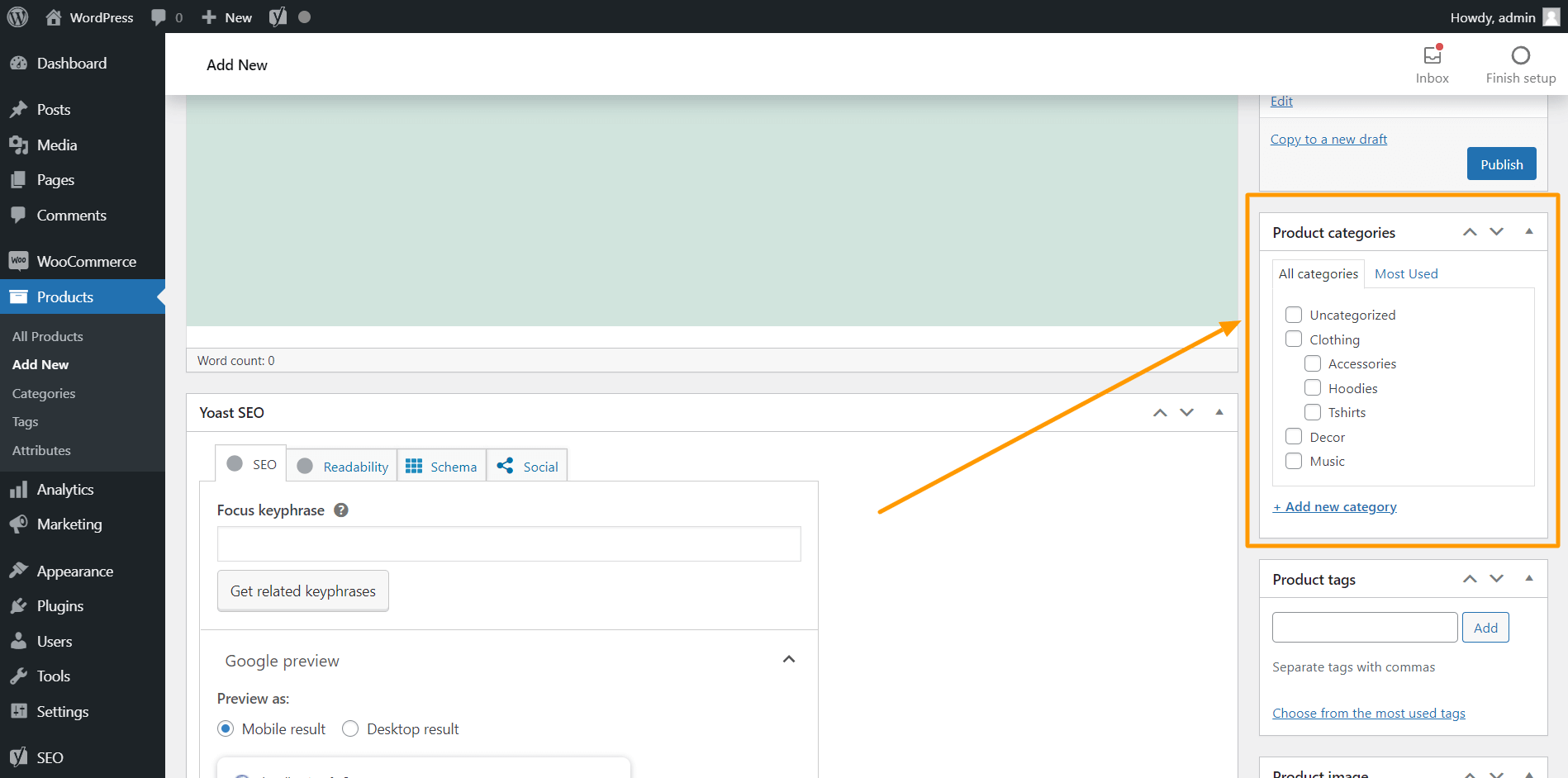 WooCommerce Product Categories Section