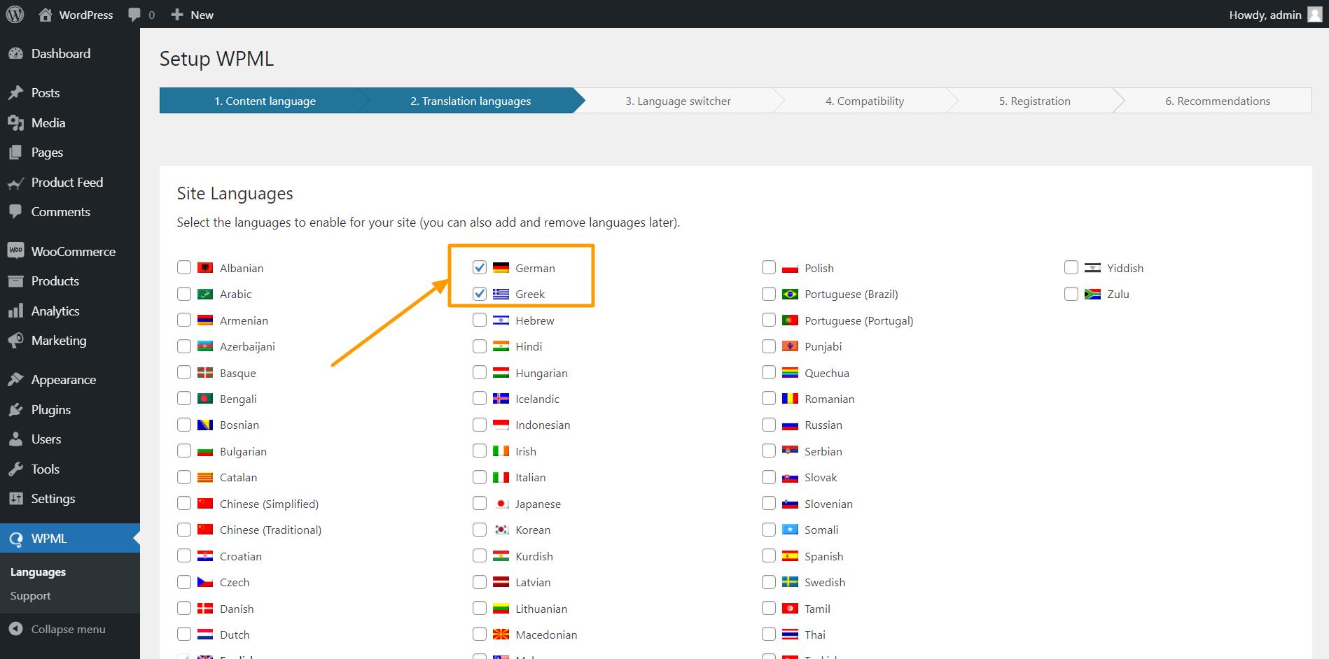 WPML Translation Languages