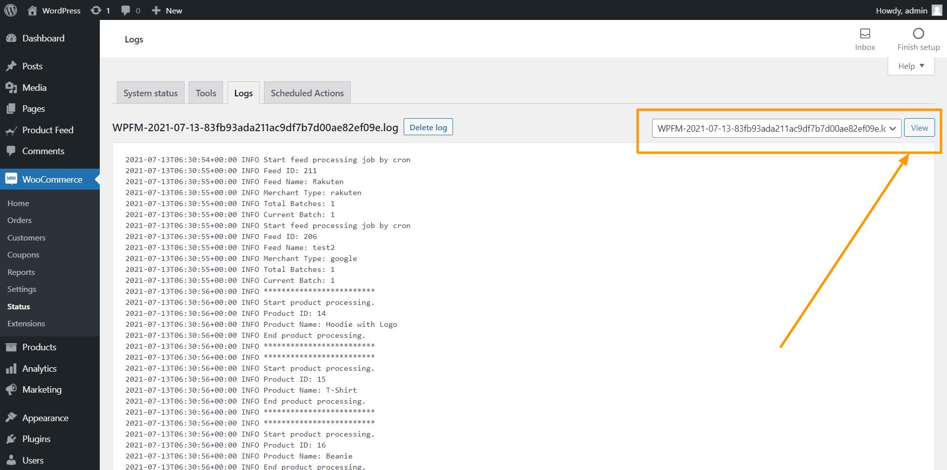 WooCommerce Error Log