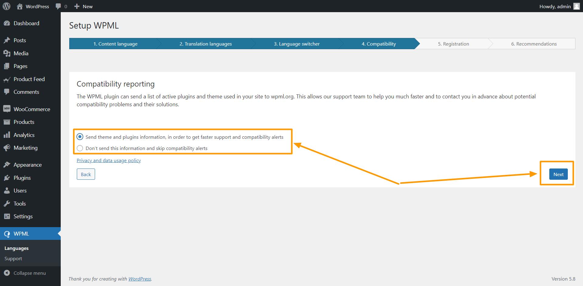 WPML Compatibility Reporting