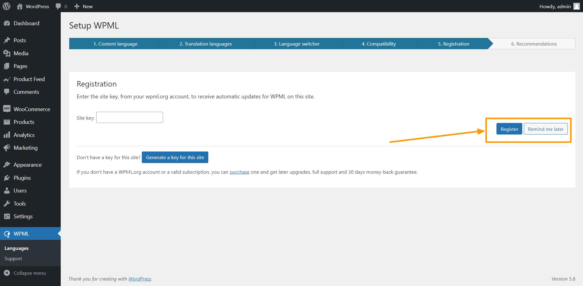 WPML Registration Page