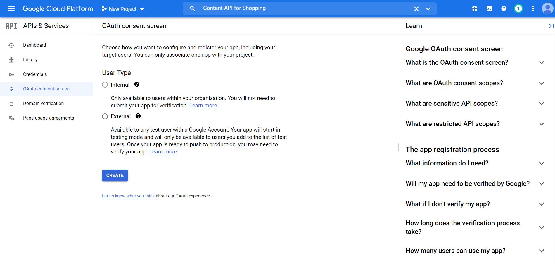 Google Cloud Platform OAuth Consent Screen