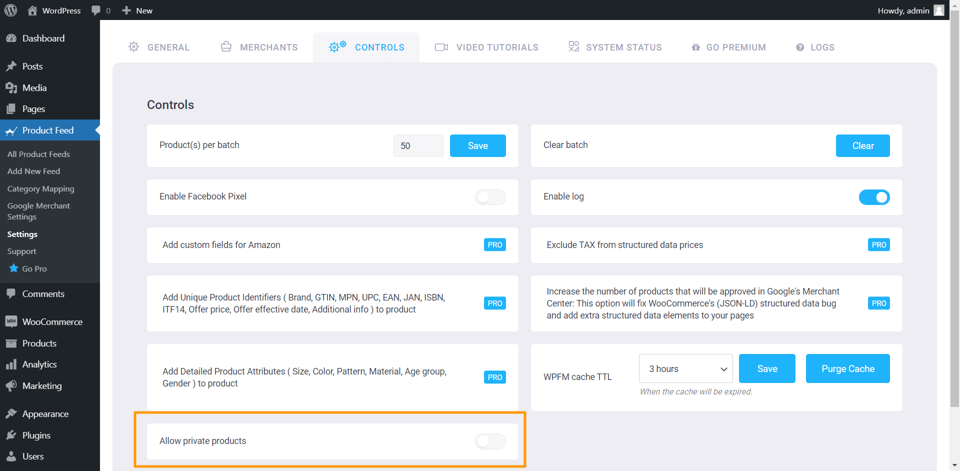 Product Feed Manager Controls - Allow Private Products