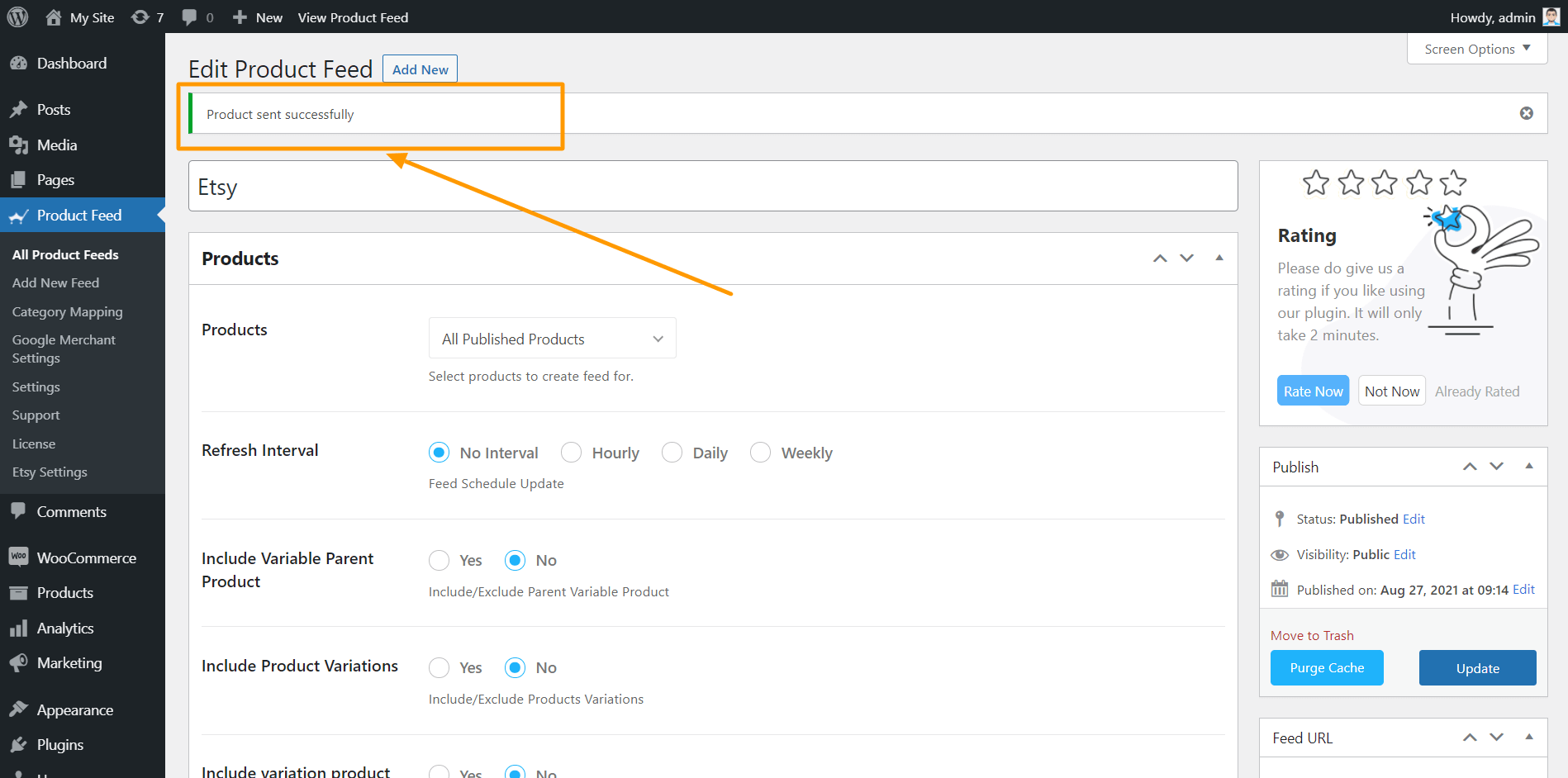 Product Feed Manager - Data Sent To Etsy Successfully