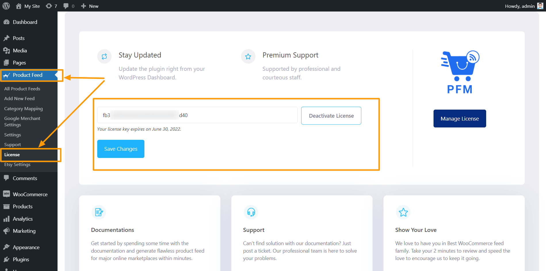 Product Feed Manager License Page